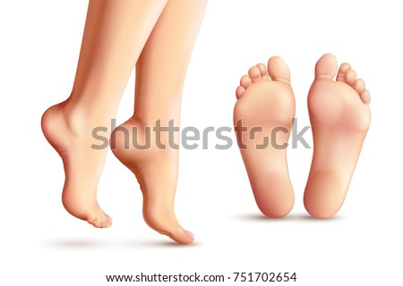 realistic female feet set with