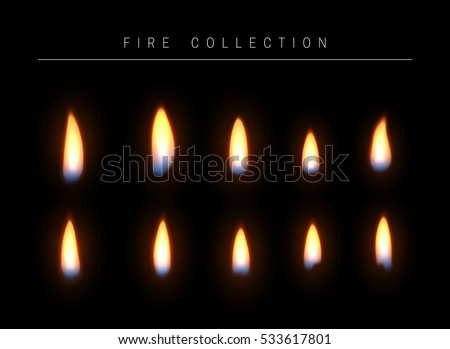realistic fire flame isolated