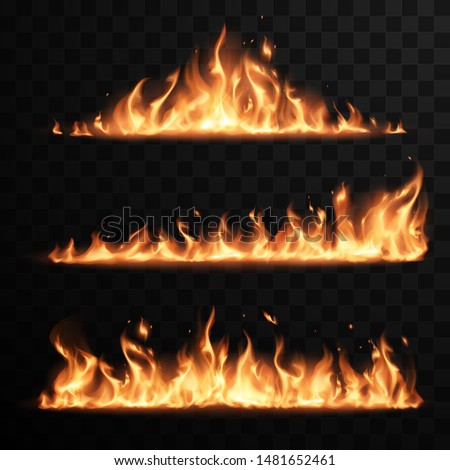 Realistic fire flames set on transparent black background