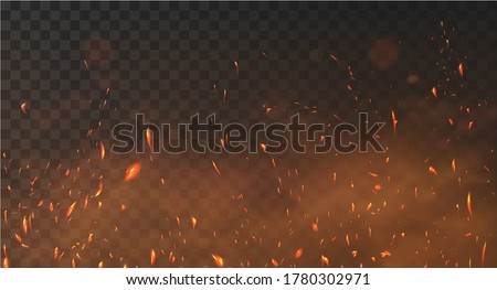 Realistic fire sparks background on a transparent background. Burning hot sparks effect with embers burning cinder and smoke flying in the air. Heat effect with glow and sparks from bonfire. Vector Stock fotó ©