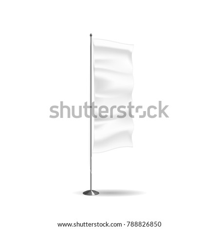 Realistic flag, textile banner, advertising layout, white stand in form flag, marketing, advertising message, outdoor poster. Shapes templates. Vector illustration realistic isolated. #788826850