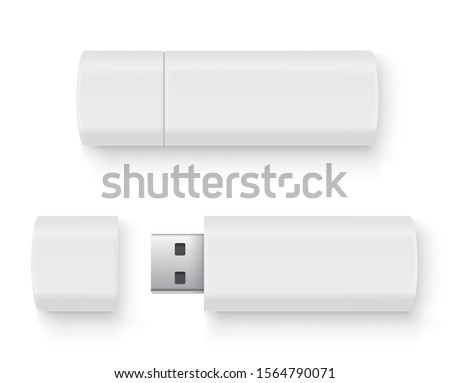 Realistic flash drive mockup set, open and closed. White mockup with shadow on white background - stock vector. Stock photo ©