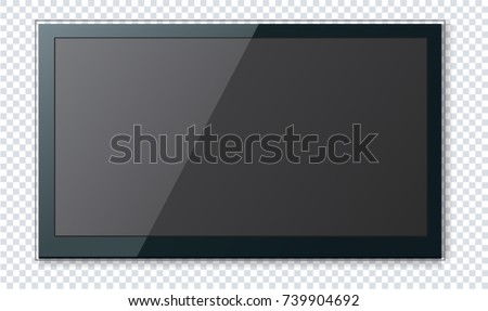Realistic Flat TV - Wide Screen - Modern Plasma - Blank TV Mockup Template
