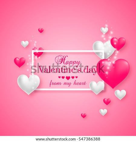 Realistic floating 3D Valentine hearts on pink background with happy Valentines day greetings. Vector Illustration. #547386388