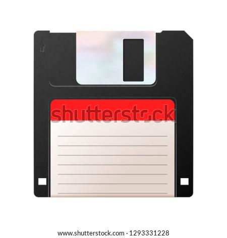 Realistic floppy-disk, retro object on white