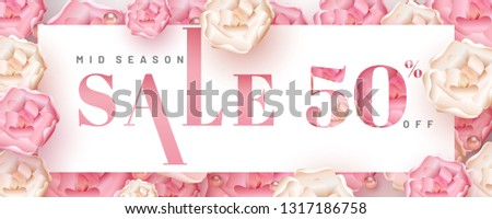Realistic flowers and pearls decorated pink background for mid season sale header or banner design with 50% discount offer.
