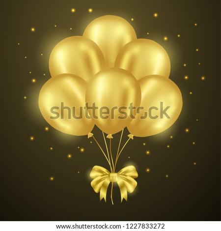 realistic flying golden balloon