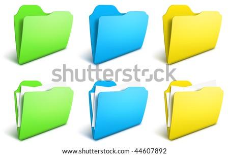 Realistic folders vector icons - EPS 10