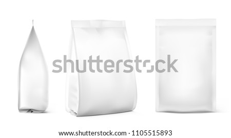 Realistic food bags isolated on white background. Front, isometric and side view. Vector illustration. Can be use for template your design, presentation, promo, ad. EPS 10.