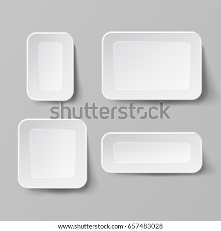 Realistic Food Container Set Vector. Empty Plastic Food Square Container. Good For Package Design. Empty Mock Up Vector Illustration #657483028