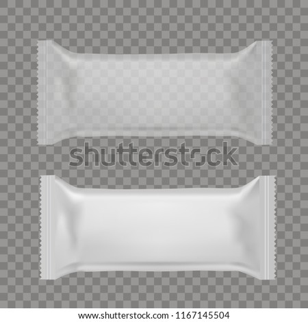 Realistic food snack pillow bags. Front and back view. Mock up. Vector. #1167145504