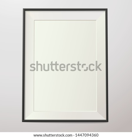 Realistic frame on a gray wall with shadow