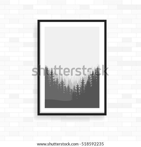 Realistic frame on light grunge brick wall. Perfect for your presentations. frame for your projects. Vector illustration