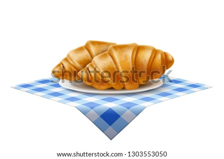 Realistic french croissant at ceramic dish at blue tablecloth. Traditional French cuisine pastry for bakery, restaurant or cafe menu design. Breakfast tasty snack, delicious gourmet vector bun.