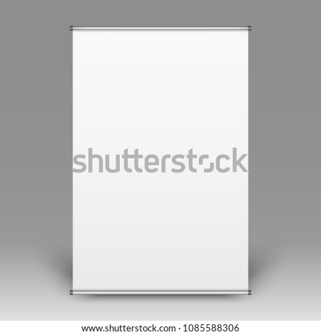 Realistic front view of empty flip-chart on grey background, vector illustration