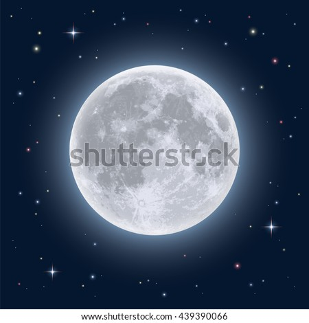 Realistic full moon. Detailed vector illustration. Elements of this image furnished by NASA
