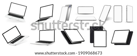 Realistic gadgets and devices mockups - 3D realistic smartphones, tablets and laptops in a variety of angles. Isometric, frontal, perspective. Gadgets template set. Mobile Phone, PC, Notebook Mockups