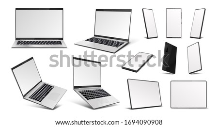 Realistic gadgets. Laptop, tablet PC and mobile phone devices mockup, 3D digital gadgets with blank screen in isometric perspective. Vector illustration mobile device at different angles