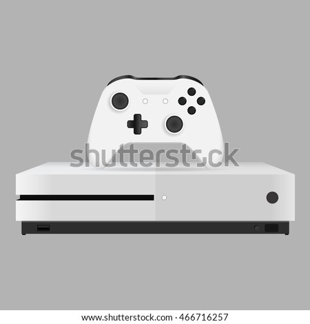 realistic gamepad and video game console on grey bakground. xbox