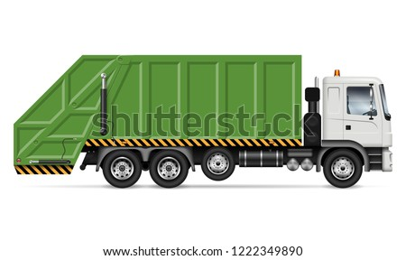 Realistic garbage truck vector mockup. Isolated template of dump lorry on white background for vehicle branding, corporate identity. View from right side, easy to editing and recolor. #1222349890