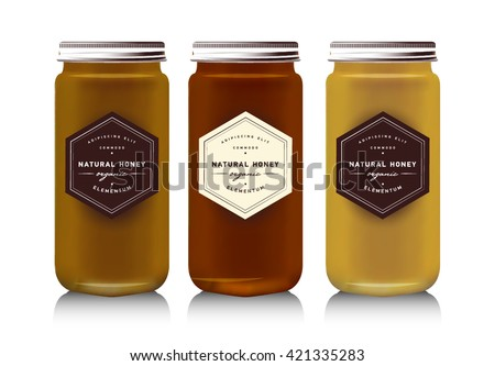 Realistic gass jar with with jam, configure or honey. Food bank. Packaging bottle. Label for honey. Honey bank. Mock up mason jar with design label or badges
