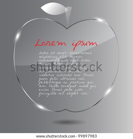 Realistic glass apple. Vector illustration.