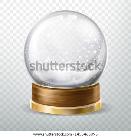 Realistic glass ball with fallen snow, snowfall inside isolated on transparent background, crystal globe or sphere design element, xmas gift, souvenir. Realistic 3d vector illustration