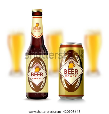 realistic glass beer bottle and