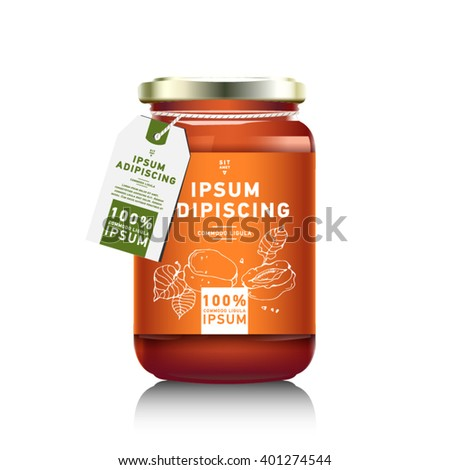 Vector Images Illustrations And Cliparts Realistic Glass Bottle Packaging For Fruit Jam Design Apricot Jam With Design Label Typography Line Drawing Apricots I Mock Up Container Or Jar Hqvectors Com