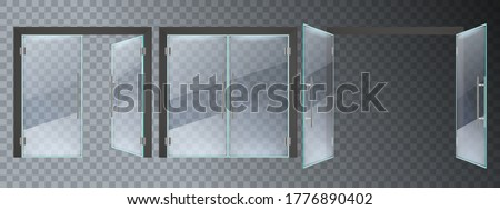Realistic glass door. Entrance modern glass doors, office or shop mall steel frame close and open doors vector illustration set. Entrance glass door, empty transparent enter