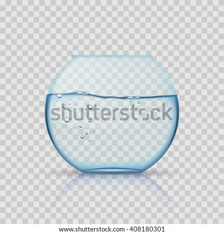 Realistic glass fishbowl, aquarium with water on transparent background. Glass aquarium, aquarium bowl for fish or aquarium with liquid transparent. Vector illustration