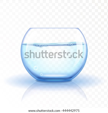 Realistic glass fishbowl, aquarium with water on transparent background. Vector illustration