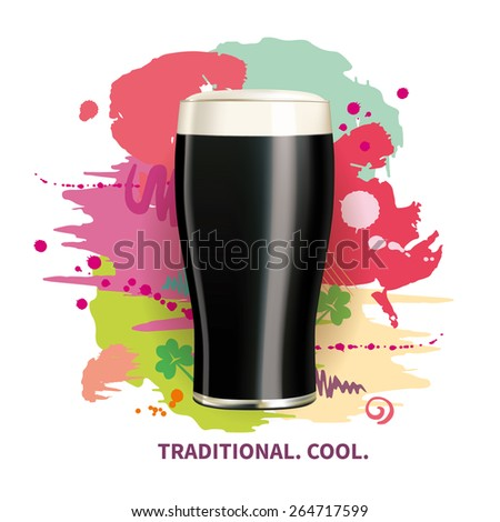 realistic glass of irish black