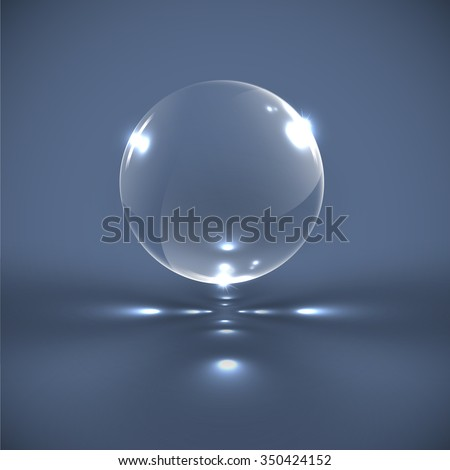 realistic glass sphere  vector
