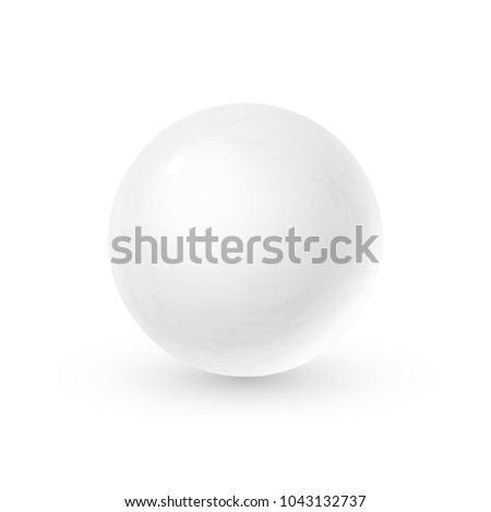Realistic glass sphere with shadows, reflection of sky in mirror surface of snow-white pearl, 3D vector illustration isolated on white background
