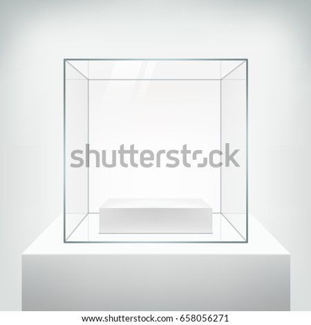 Realistic glass square showcase, vector. Empty glass box with white podium for product  isolated on white. 3d style. Illustration for exhibition and presentation.