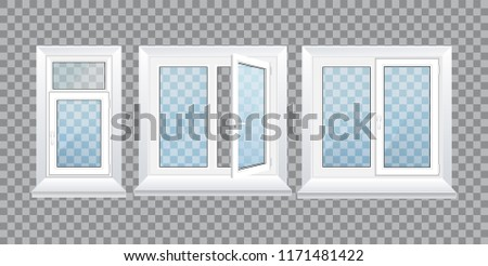 Realistic glass transparent plastic windows with window sills and sashes. White home and office windows, with one and two sections, a handle for adjustment. Vector illustration isolated.