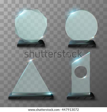 Realistic glass trophy awards