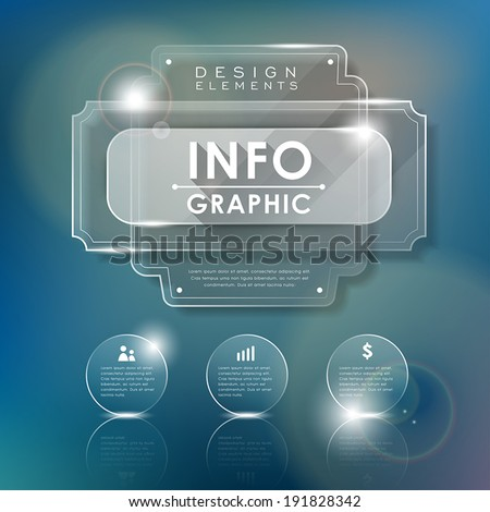 realistic glass vector illustration infographics elements design
