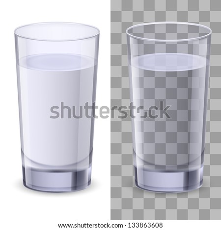Realistic glasses of water. Illustration on white background for design