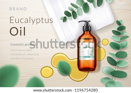 Realistic glassware bottle with eucalypti liquid and eucalyptus branch with leaves, oil blob or splash. Medical 3d spray or dispenser, aerosol near liquid and plant.Medical advertising, branding theme