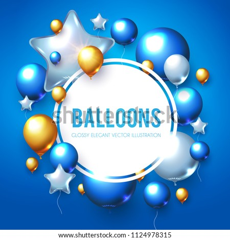 Realistic Glossy Blue, Gold and White Balloons Poster Template. Sale, Win, Promotion Design. Vector illustration