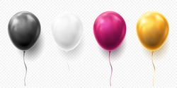 Realistic glossy golden, purple, black and white balloon vector illustration on transparent background. Balloons for Birthday, festive occasions, parties, weddings. Festival romantic decorations.