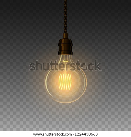 Realistic glowing lamp hanging on the wire. Incandescent lamp. Vector