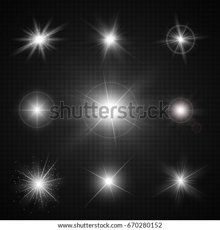 Realistic glowing light effects. Sparkling and shining stars, bright flashes with radiating. Transparent vector illustration