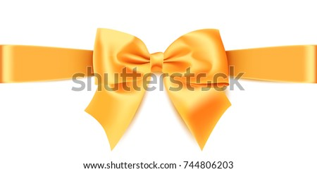 Realistic gold bow isolated on white background