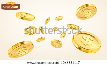Realistic gold coin explosion or splash on white background. Rain of golden coins. Falling or flying money. Bingo jackpot or casino poker or win element. Cash treasure concept. Vector 3d illustration