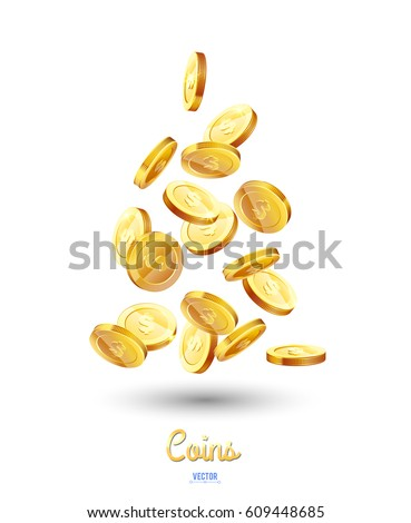 realistic gold coins falling...