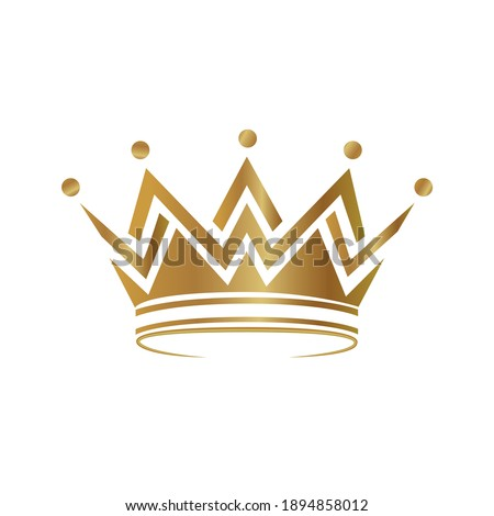 Realistic gold crown. Royal vintage golden jewel crown vector isolated. Crown logo or symbol.