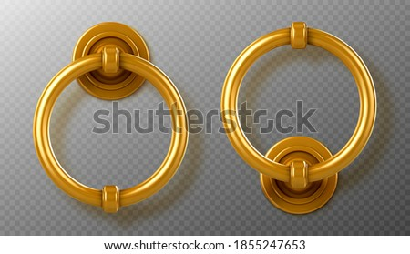 Realistic gold door knocker handles, golden ring knobs, shiny vintage metal doorknob, element for interior or exterior design isolated on transparent background, 3d vector illustration, icon, clipart Foto stock ©